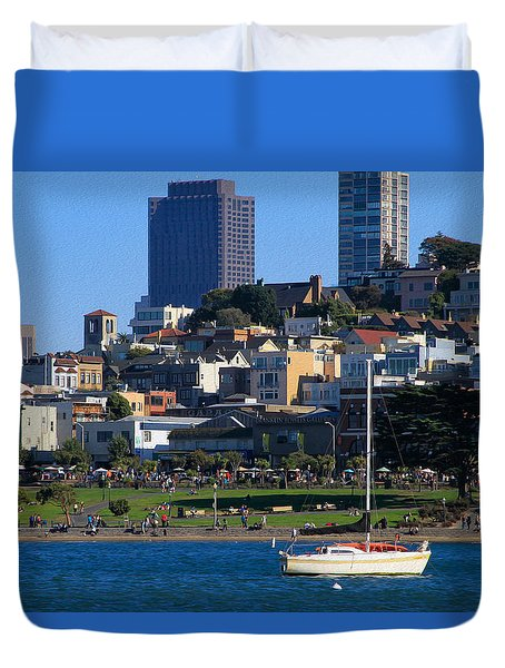 Afternoon At Maritime Park Duvet Cover