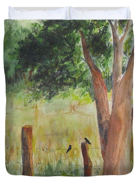 Duvet Cover featuring the painting Afternoon Chat by Vicki  Housel