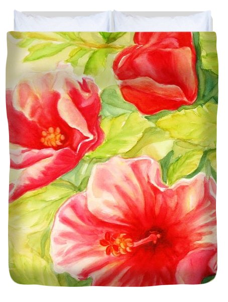 Duvet Cover featuring the painting Afternoon Hibiscus by Inese Poga