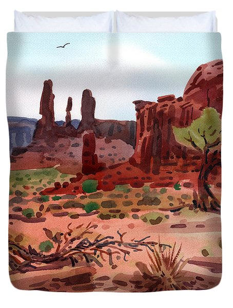 Duvet Cover featuring the painting Afternoon In Monument Valley by Donald Maier