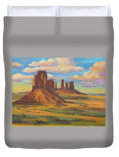 Duvet Cover featuring the painting Afternoon Light Monument Valley by Diane McClary