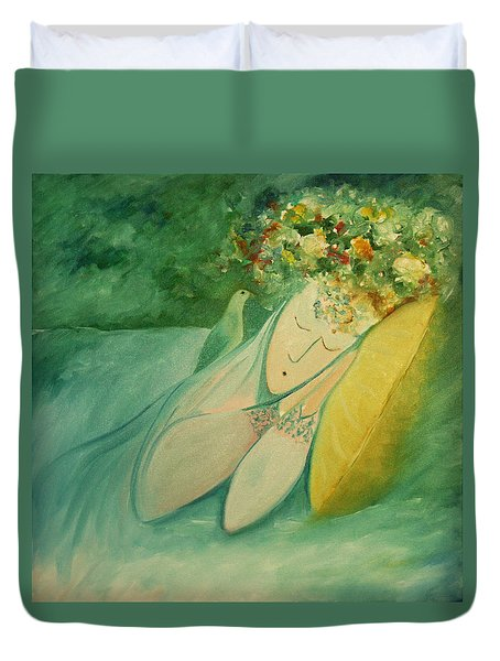 Afternoon Nap In The Garden Duvet Cover by Tone Aanderaa