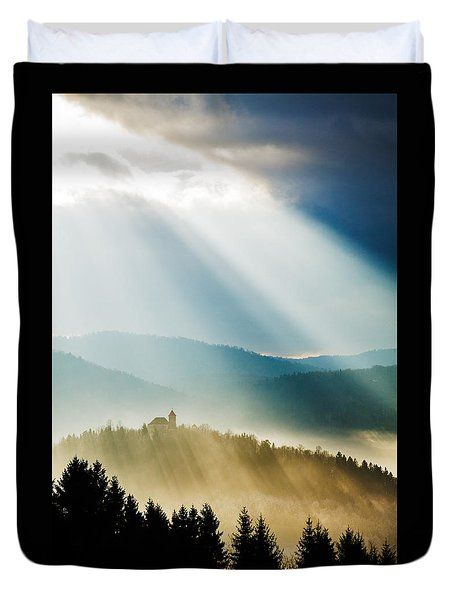 Afternoon Rays Over Church Duvet Cover
