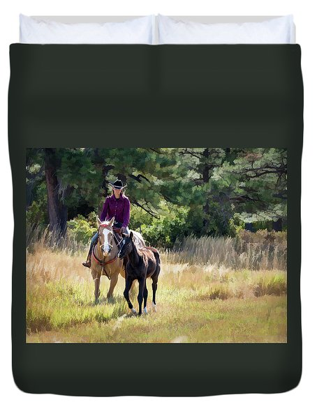 Afternoon Ride In The Sun - Cowgirl Riding Palomino Horse With Foal Duvet Cover by Nadja Rider