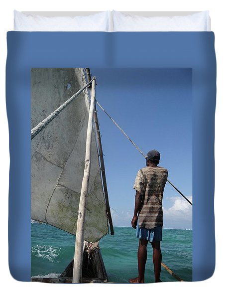 Afternoon Sailing In Africa Duvet Cover