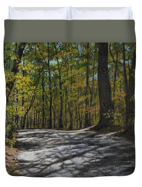 Duvet Cover featuring the painting Afternoon Shadows - Oconne State Park by Kathleen McDermott