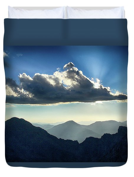 Duvet Cover featuring the photograph Afternoon Sunburst by Marie Leslie