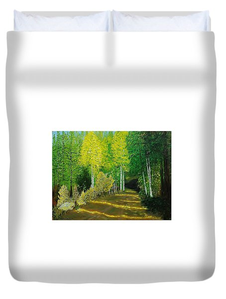 Afternoon Sunshine Through The Aspens Duvet Cover by Mike Caitham