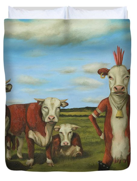 Duvet Cover featuring the painting Against The Herd by Leah Saulnier The Painting Maniac