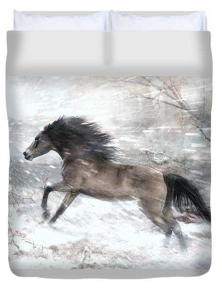 Duvet Cover featuring the digital art Against The Wind by Dorota Kudyba