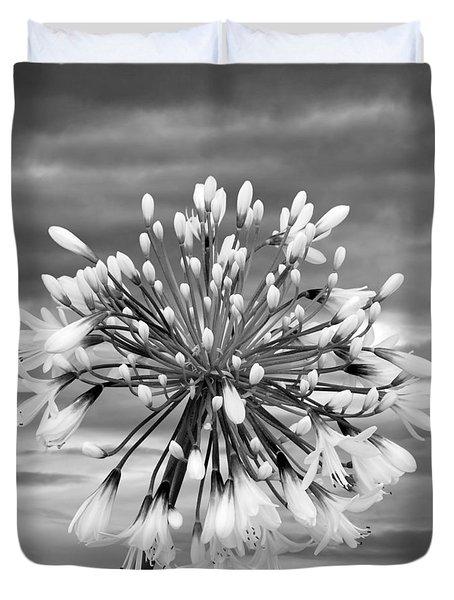 Agapanthus In Black And White Duvet Cover