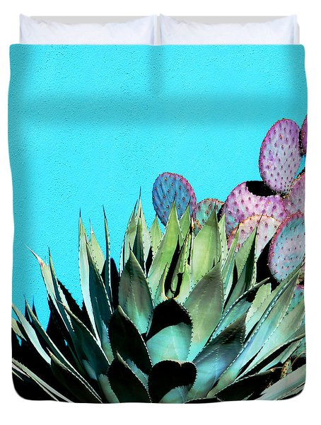 Agave And Prickly Pear Cactus Duvet Cover