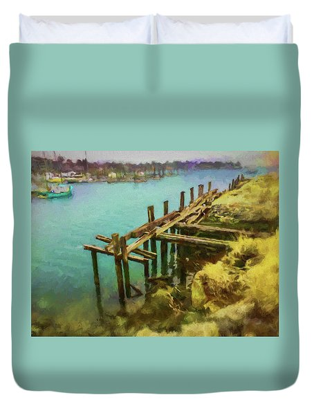 Aged Docks From Winthrop Duvet Cover