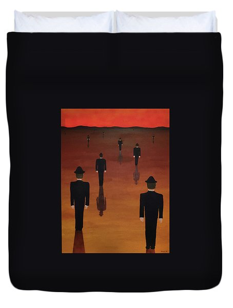 Duvet Cover featuring the painting Agents Orange by Thomas Blood