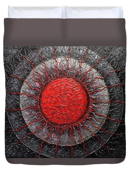 Duvet Cover featuring the painting Red And Black Abstract by Patricia Lintner