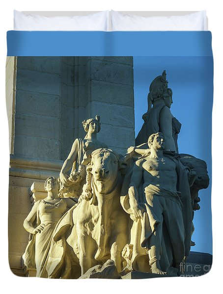 Duvet Cover featuring the photograph Agriculture Allegorie Monument To The Constitution Of 1812 Cadiz Spain by Pablo Avanzini