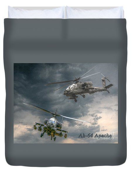 Ah-64 Apache Attack Helicopter In Flight Duvet Cover