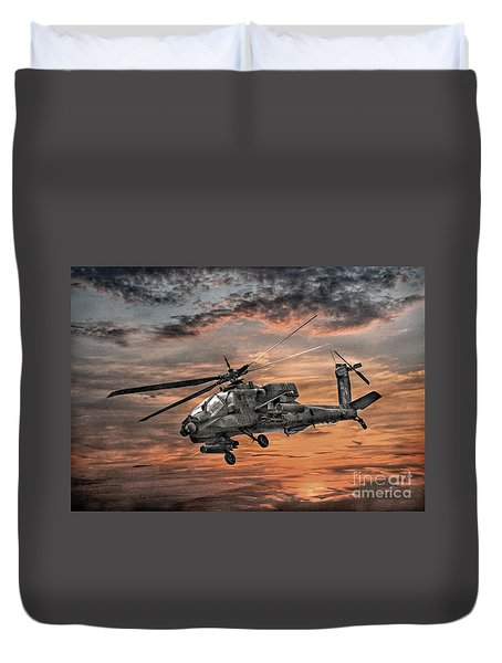 Ah-64 Apache Attack Helicopter Duvet Cover by Randy Steele