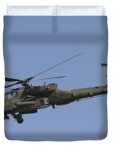 Ah-64 Apache In Flight Over The Baghdad Duvet Cover by Terry Moore