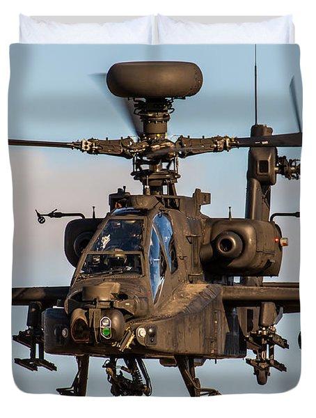 Ah64 Apache Flying Duvet Cover by Ken Brannen