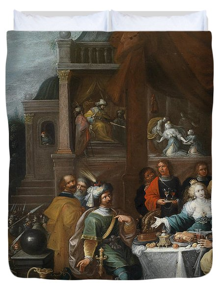 Ahasver And Haman At The Banquet Of Esther Duvet Cover