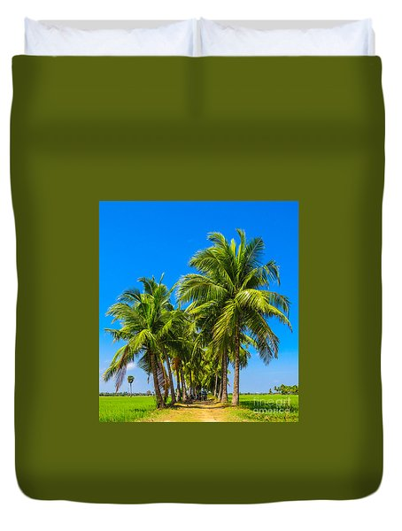 Duvet Cover featuring the painting Ahh Shade Of The Palms by Rod Jellison