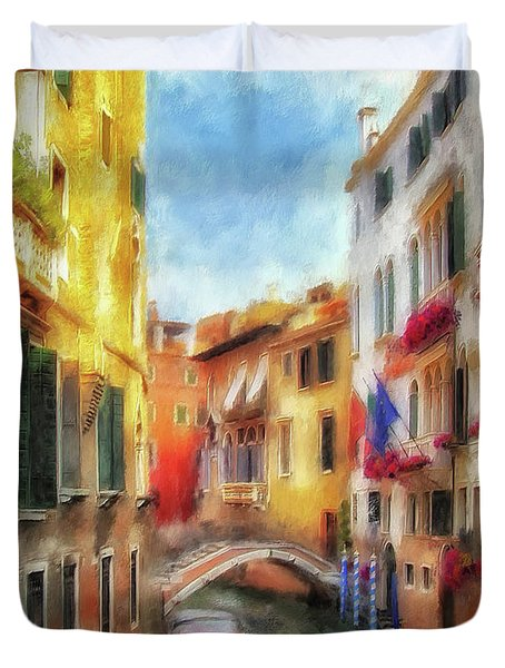Duvet Cover featuring the digital art Ahh Venezia Painterly by Lois Bryan