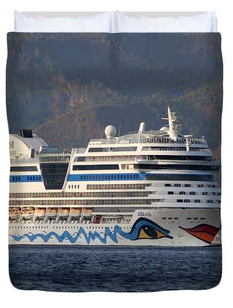 Aida Stella Cruise Ship Leaving Marmaris Duvet Cover