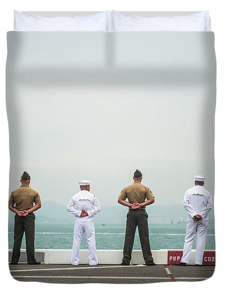ailors and Marines, man the rails Duvet Cover