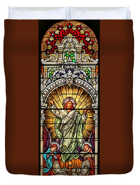 Duvet Cover featuring the photograph Stained Glass Scene 10 Crop by Adam Jewell