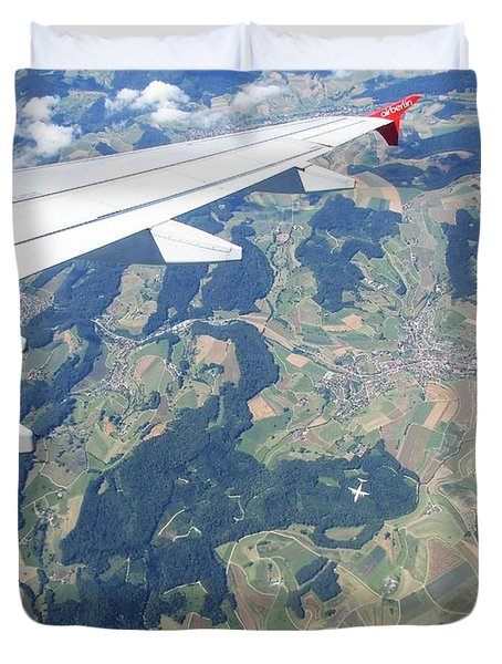 Air Berlin Over Switzerland Duvet Cover