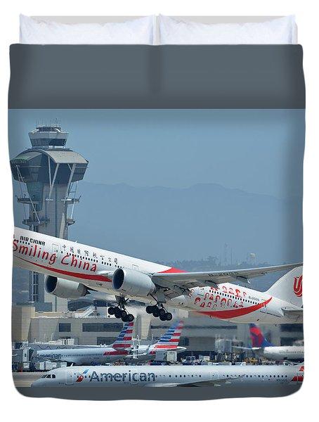 Air China Boeing 777-39ler B-2035 Smiling China Los Angeles International Airport May 3 2016 Duvet Cover by Brian Lockett