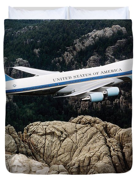 Air Force One Flying Over Mount Rushmore Duvet Cover by War Is Hell Store