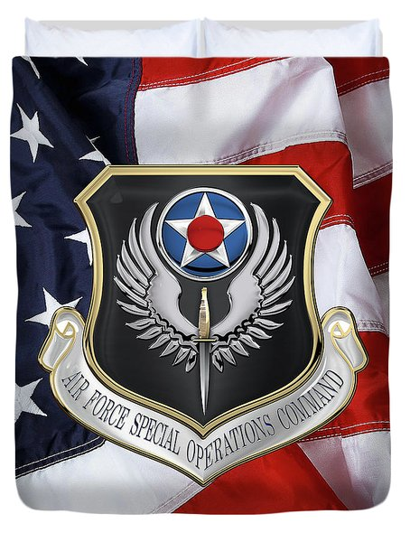 Air Force Special Operations Command -  A F S O C  Shield Over American Flag Duvet Cover by Serge Averbukh