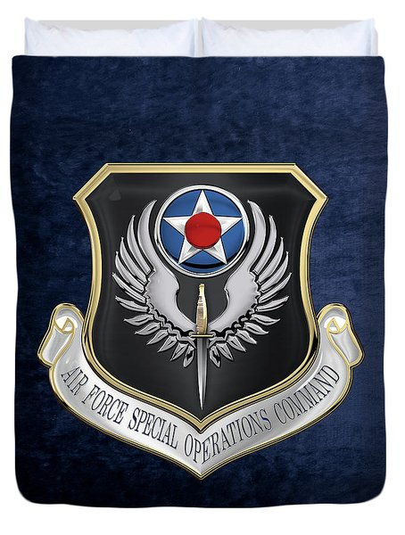 Air Force Special Operations Command -  A F S O C  Shield Over Blue Velvet Duvet Cover by Serge Averbukh
