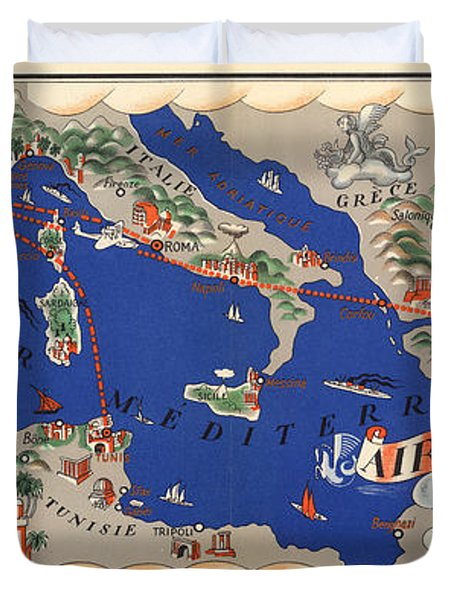 Air France - Flying Routes Around The Meditteranean Sea - Vintage Illustrated Map Duvet Cover