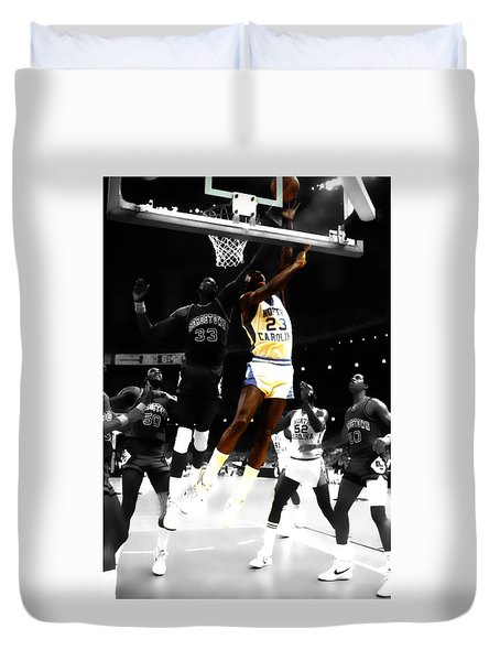 Duvet Cover featuring the digital art Air Jordan On Patrick Ewing by Brian Reaves