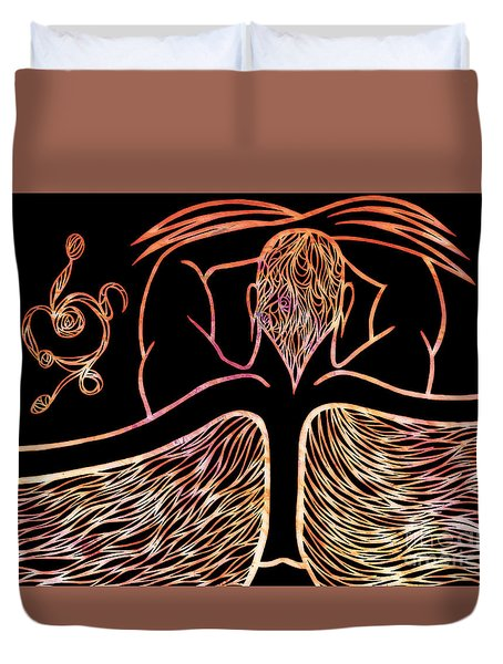 Duvet Cover featuring the drawing Fire Spirit by Jamie Lynn