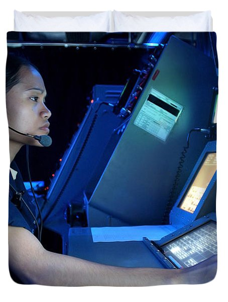 Air Traffic Controller Monitors Marine Duvet Cover by Stocktrek Images