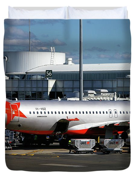 Airbus A320-232 Duvet Cover by Tim Beach