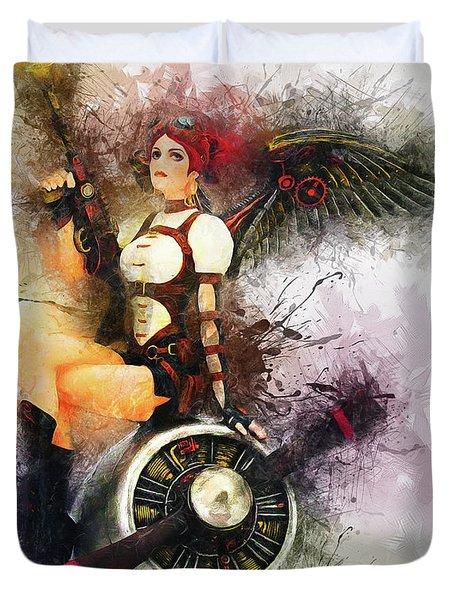 Aircraft Girl Duvet Cover