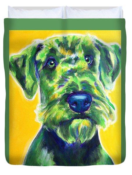 Airedale Terrier - Apple Green Duvet Cover