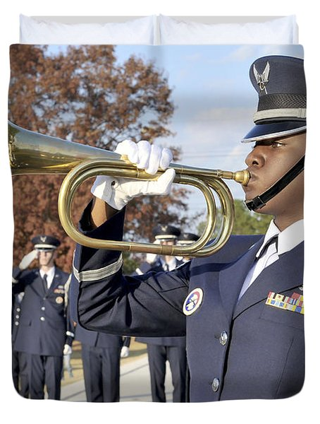 Airman Plays Taps During The Veterans Duvet Cover by Stocktrek Images