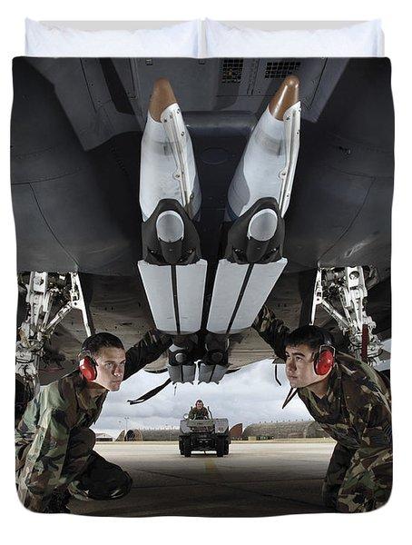 Airmen Check The Gbu-39 Small Diameter Duvet Cover by Stocktrek Images
