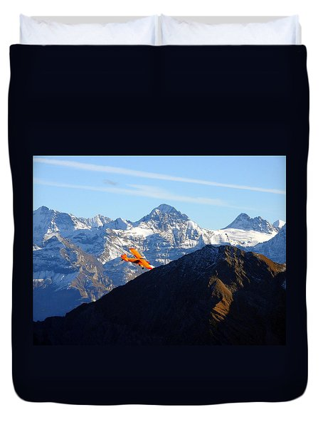 Airplane In Front Of The Alps Duvet Cover