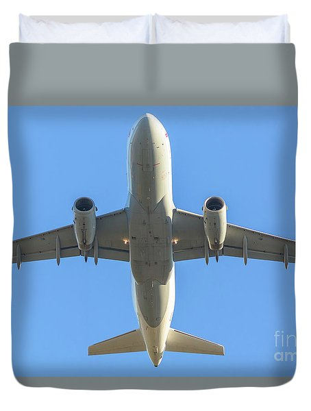 Airplane Isolated In The Sky Duvet Cover