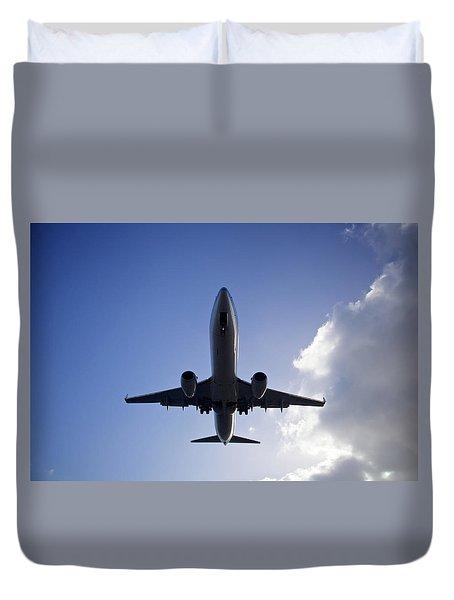 Airplane Landing Duvet Cover by Teemu Tretjakov
