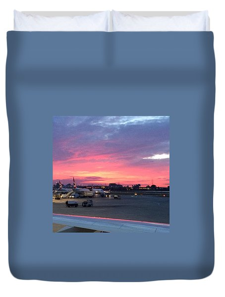 London City Airport Sunset Duvet Cover by Patsy Jawo