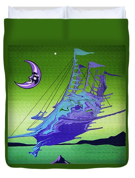 Airship Under A Smiling Moon  Duvet Cover