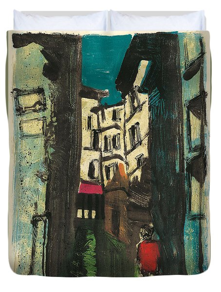 Duvet Cover featuring the painting Aix En Provence Street by Martin Stankewitz